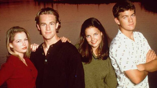 """The cast of Dawson's Creek. From left to right: Michelle """"Two Oscar Nominations"""" Williams (Jennifer Lindley), James """"Good Thing He Has A Sense Of Humor"""" Van Der Beek (Dawson Leery), Katie """"Well, You Know"""" Holmes (Joey Potter) and Joshua """"Fringe"""" Jackson (Pacey)."""
