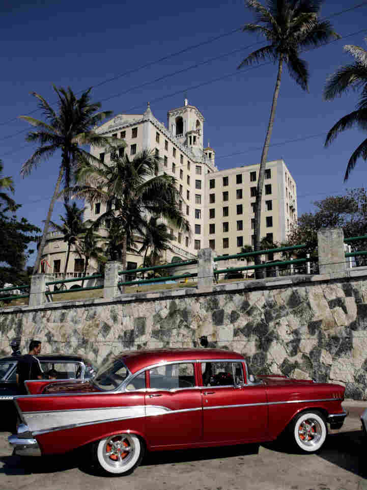 An old car is seen parked in front the National hotel during a classic car rally in Havana, Cuba, on April 7.