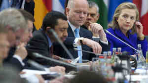 US Secretary of State Hillary Clinton at a NATO meeting on Libya in Berlin, Germany, on April 14, 2011.