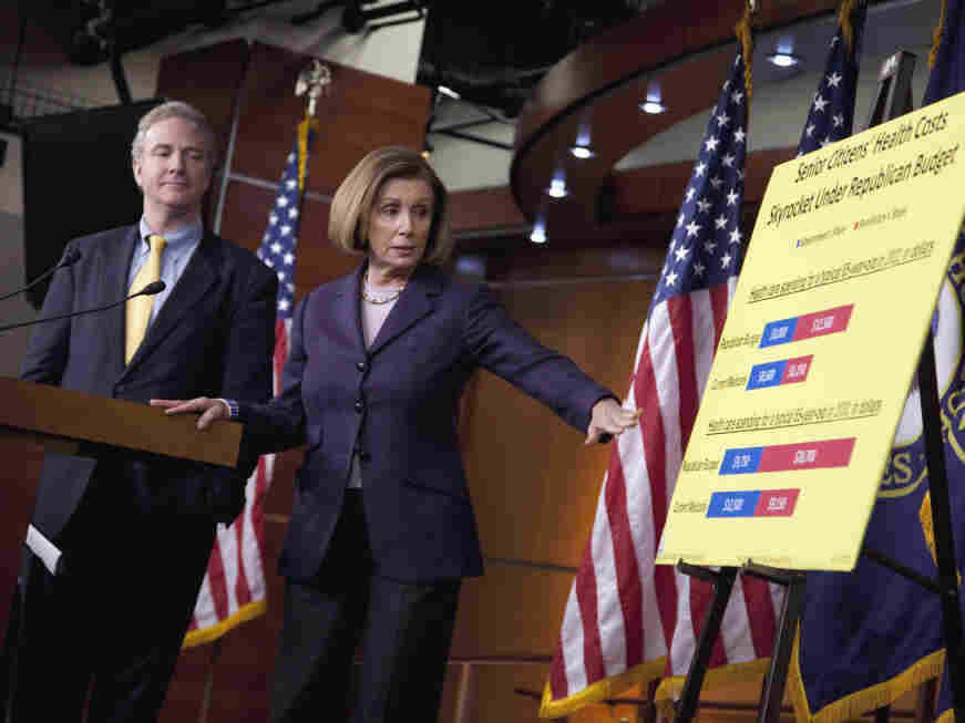 House Minority Leader Nancy Pelosi (D-CA) with Rep. Chris Van Hollen (D-MD) at a Capitol Hill news conference, Thursday, April 14, 2011.