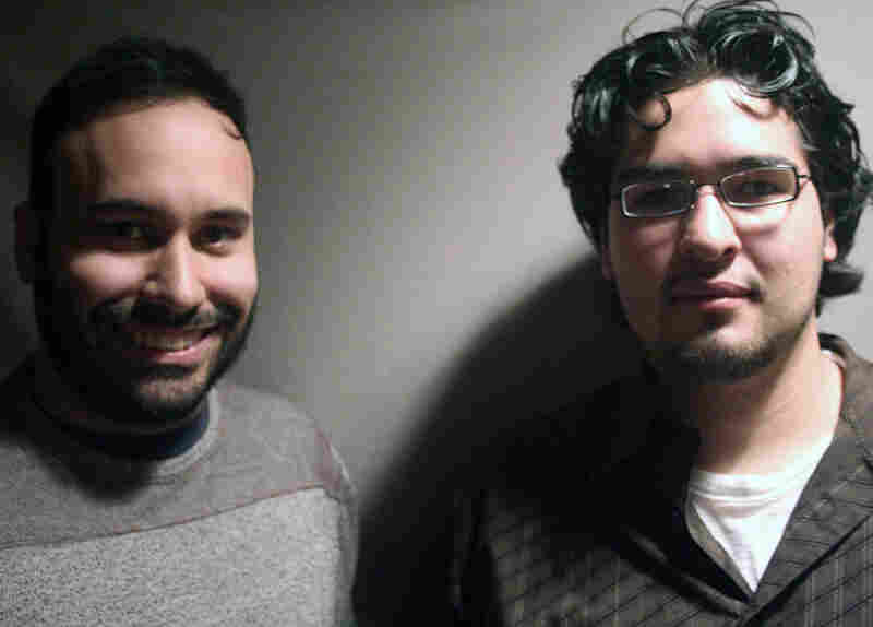 Alex Fernandez (left) visited StoryCorps with his former student, Noe Rueda, in Madison, Wis.