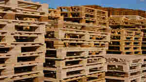 Wooden pallets like these appear to be the source of an offensive odor on a Johnson & Johnson medicine.