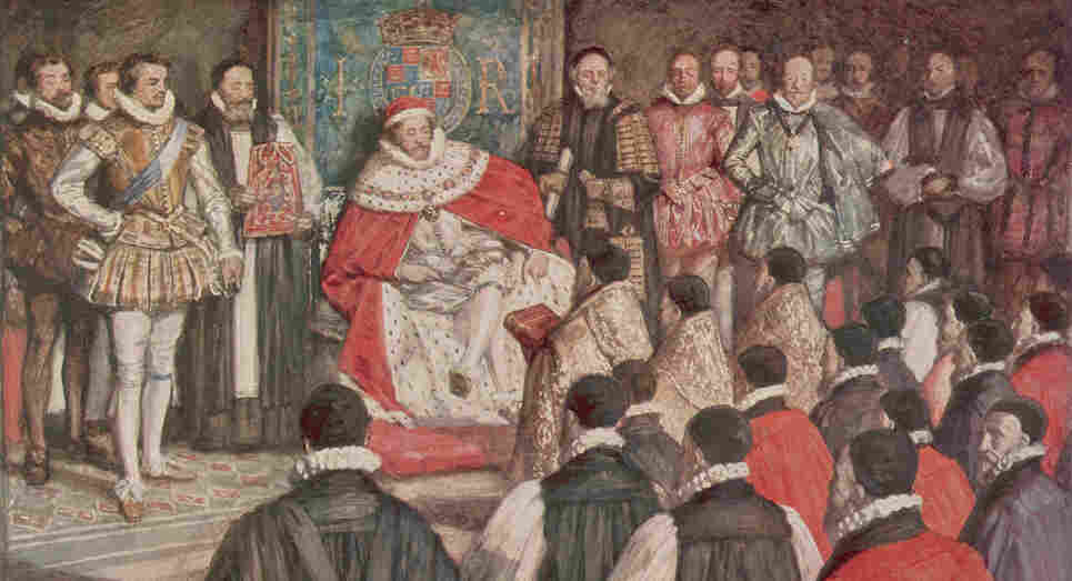 The King James Bible, published in 1611, celebrates its 400th birthday this year. Above, a 1754 illustration depicts a group of robed translators presenting a bible to King James I. The king commissioned the new translation in 1604, and for the next seven years, 47 scholars and theologians worked through the Bible line by line.