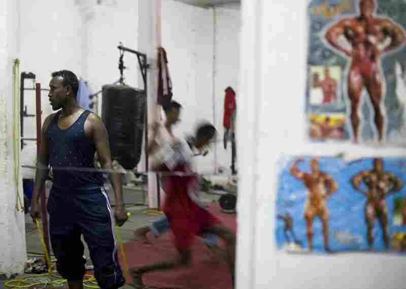 Young men work out in a Hargeisa gym.