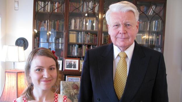 Heiða Dóra Jónsdóttir with Ólafur Ragnar Grímsson, the president of Iceland. (David Kestenbaum/NPR)