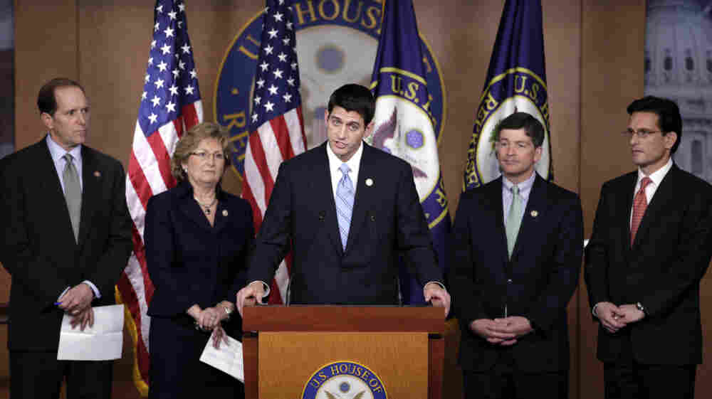 """House Budget Committee Chairman Paul Ryan of Wisconsin, pictured with fellow Republicans at a news conference, said this week that """"the biggest threat to Medicare is the status quo and the people defending it."""""""