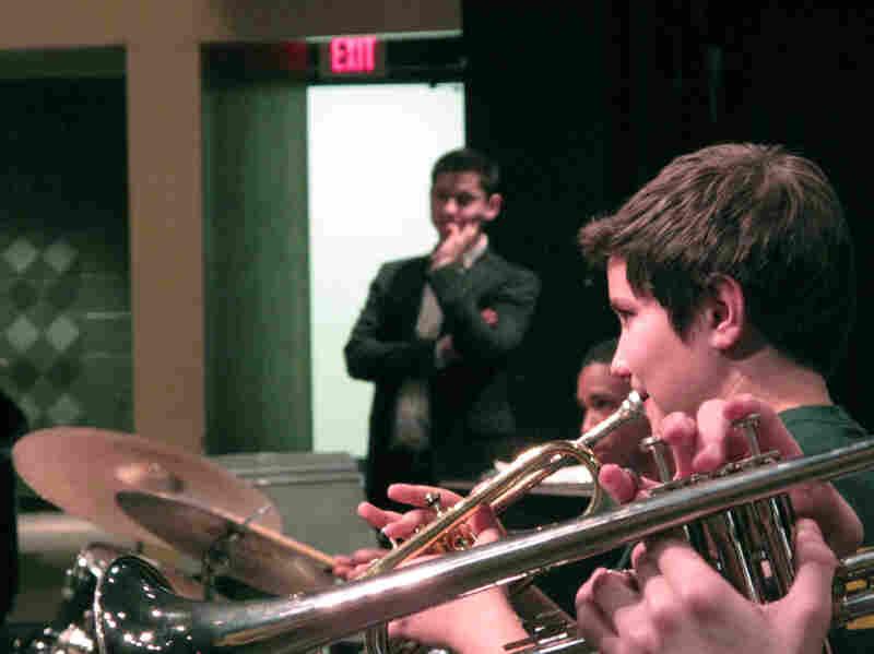 Eldar (background) observes jazz band practice at Kenmore Middle School in Arlington, Va.
