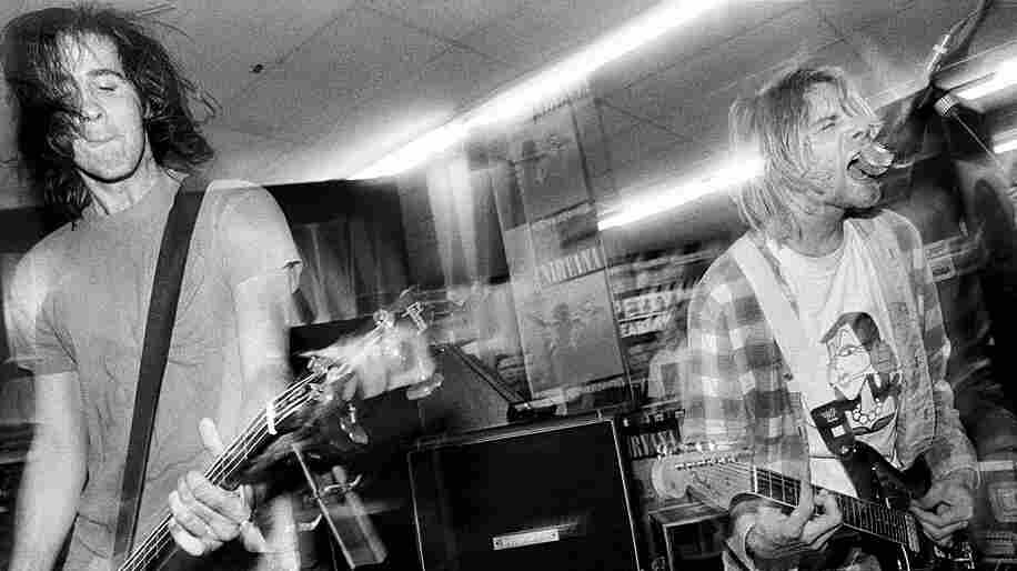 Krist Novoselic and Kurt Cobain play at Beehive Records in Seattle  to celebrate the release of Nevermind in September 1991.