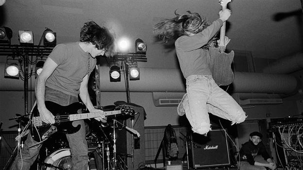 Novoselic and Cobain perform at the University of Washington HUB Ballroom in February 1989. (Charles Peterson)