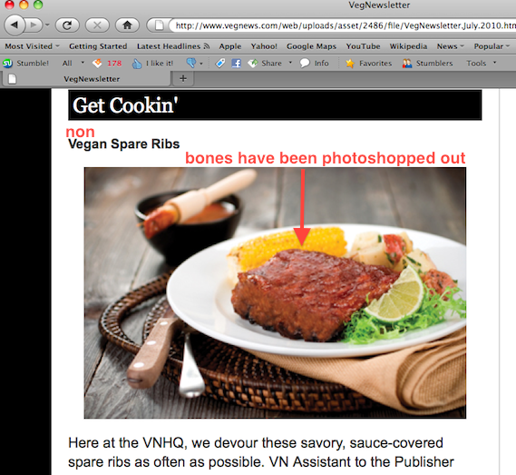 The spareribs as they appear on VegNews.
