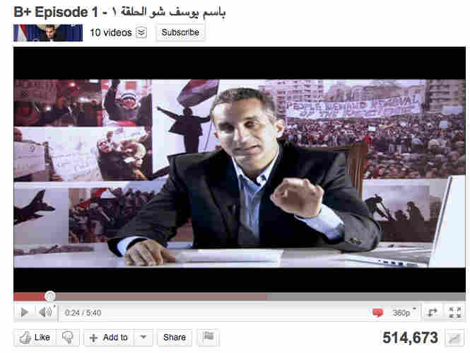 A screen grab of the Bassem Youssef Show from YouTube.