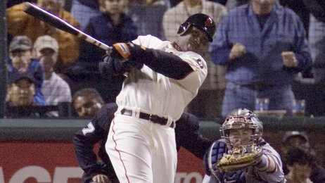 San Francisco's Barry Bonds follows through on his 756th career home run on Aug. 7, 2007. The home run put Bonds in sole possession of first place for Major League Baseball's all-time home run record.