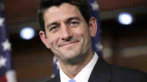House Budget Committee Chairman Paul Ryan (R-WI) takes questions in reaction to President Obama's speech on a federal spending plan at the Capitol on Wednesday.