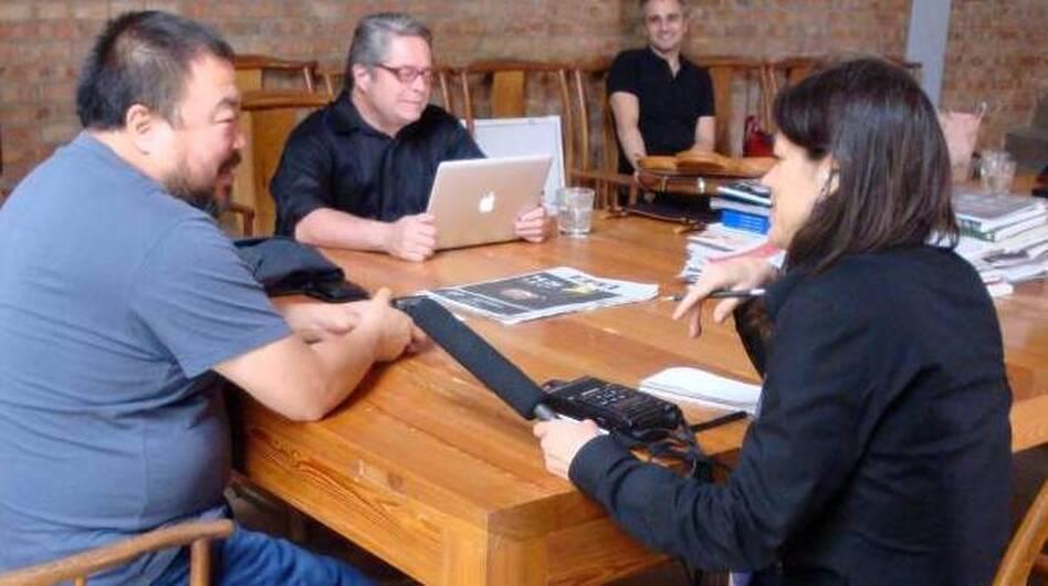 NPR's Laura Sydell interviews Ai Weiwei in 2008. (NPR)