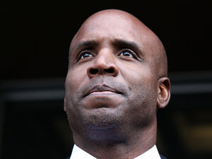 Former Major League Baseball player Barry Bonds leaves federal court last week in San Francisco, California.  After three and a half days of deliberation, a jury found Barry Bonds guilty on one count of obstruction of justice, though the jury failed to reach a verdict on the three counts that he lied to a grand jury about knowingly taking steroids.