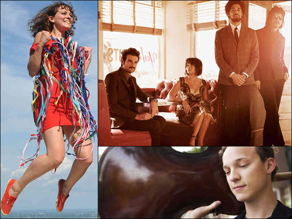Laurel Sprengelmeyer of Little Scream (left); Daniele Luppi, Norah Jones, Danger Mouse and Jack White of the Rome project (top right); Ben Sollee (bottom right).