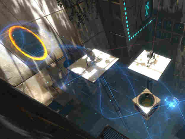 In the video game Portal 2, players use portals to teleport themselves and objects to help solve puzzles.
