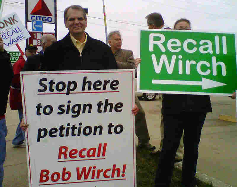 Dan Hunt, the organizer of the campaign to recall Wisconsin state Democratic Sen. Bob Wirch, attends a petition drive on a recent Saturday morning.