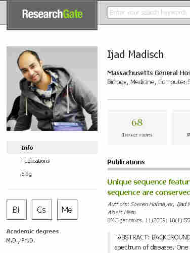A portion of Ijad Madisch's profile on ResearchGate, a networking site for scientists that he created.
