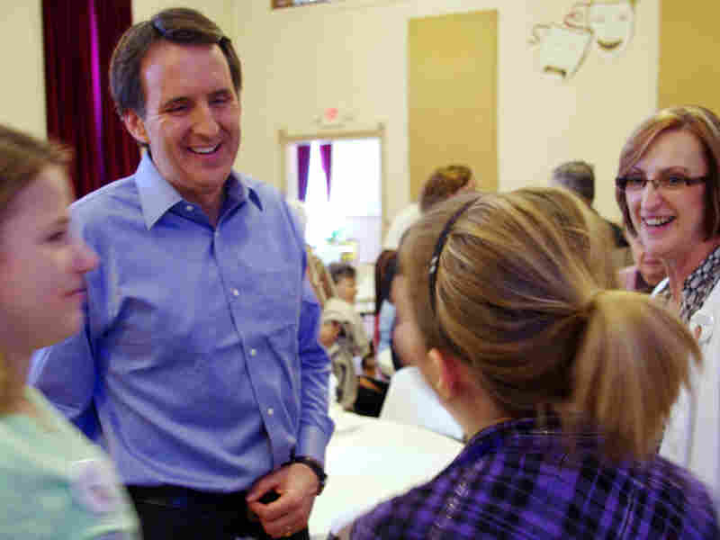 Pawlenty meets with attendees of the Fayette County Republican Party Spring Fundraiser in Fayette, Iowa, after speaking there April 2.