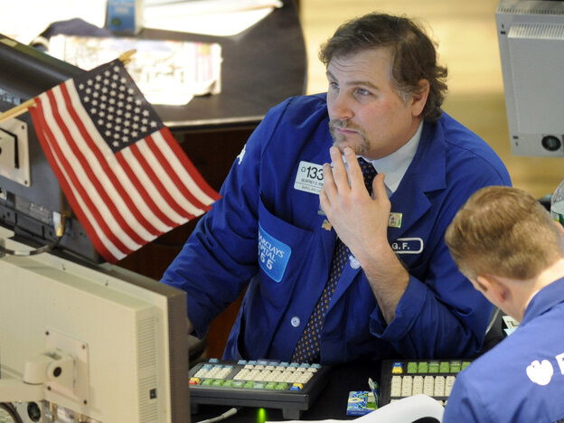 The Dow Jones Industrial Average fell sharply in New York trading after Standard & Poor's warned investors on U.S. government debt.