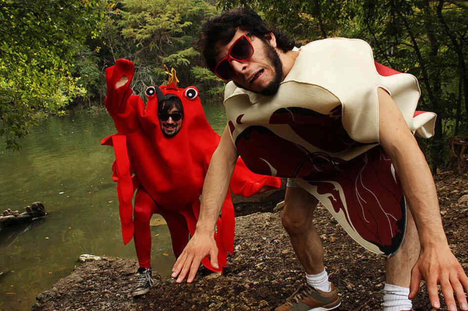 The Austin-based duo Zorch, as surf and turf.