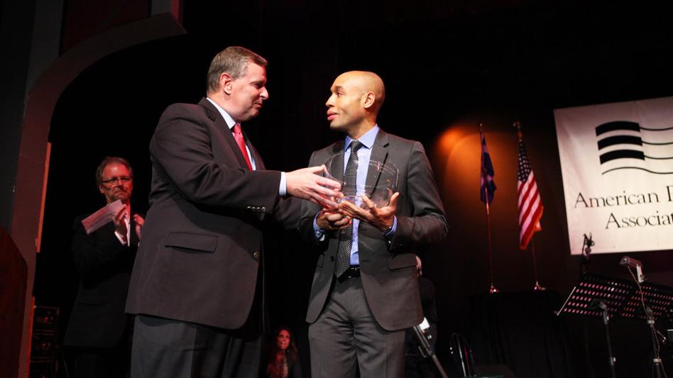 Indianapolis Mayor Greg Ballard presents Aaron Diehl with the 2011 Cole Porter Fellowship. (American Pianists Association)