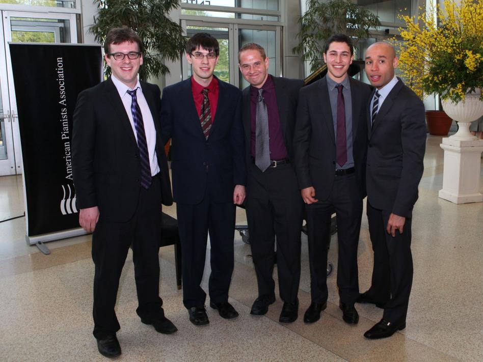 The finalists for the 2011 Cole Porter Fellowship. L-R: Zach Lapidus, Glenn Zaleski, Jeremy Siskind, Emmet Cohen, Aaron Diehl. (American Pianists Association)