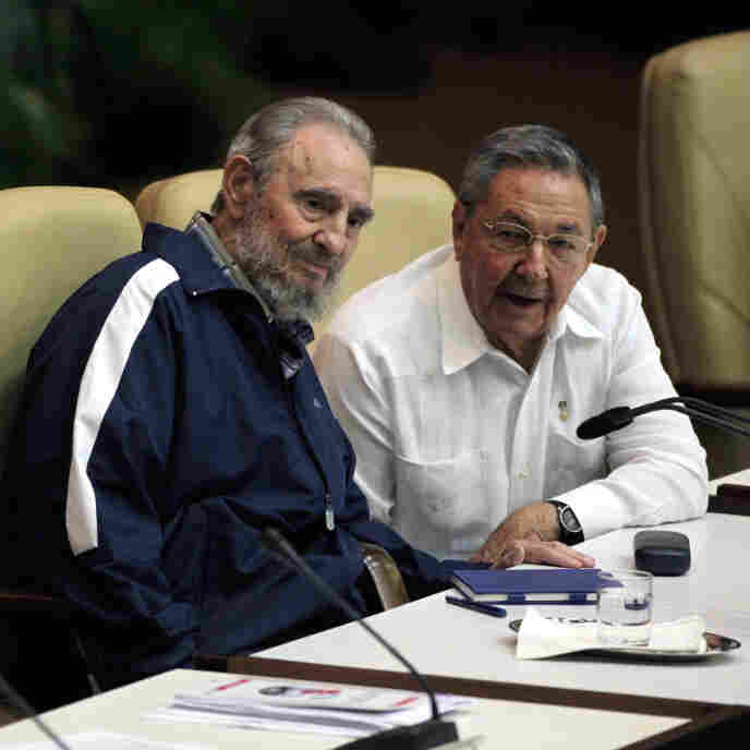 Fidel Castro, left, and his brother Raul at today's Communist Party Congress in Havana.
