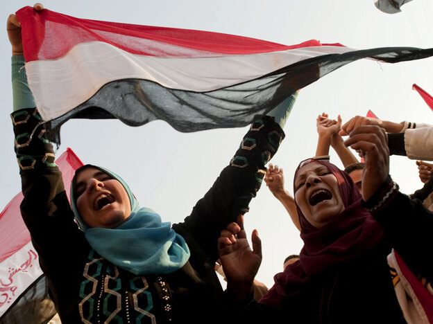 Egyptian women celebrate in Tahrir Square on Feb. 12 after Mubarak was driven from power. Many women now say they feel shut out of the new government that is emerging.