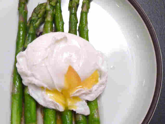 Pan Roasted Asparagus, Poached Eggs And Miso Butter