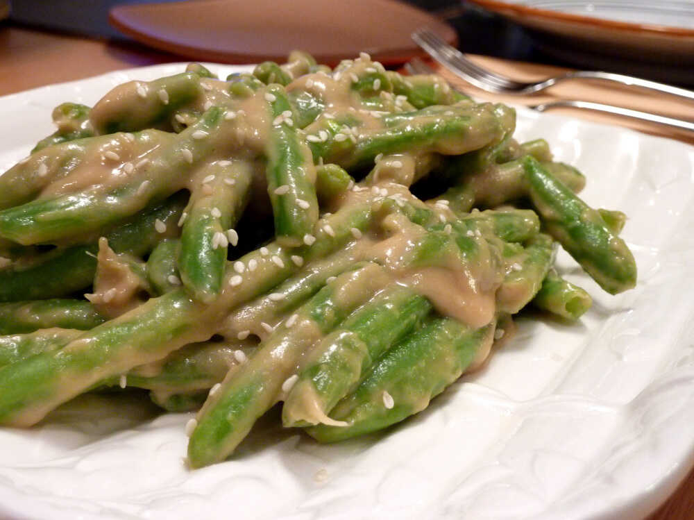 Green Beans With Creamy Sesame-Miso Sauce