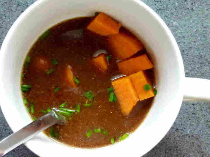 Dark Miso Soup With Sweet Potato