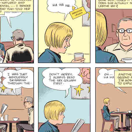 A scene from Mister Wonderful by Daniel Clowes, in which Marshall, the hero of the story, wonders how he could possibly be on a date with such a beautiful woman. Mister Wonderful was previously serialized in the New York Times Magazine.