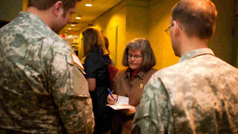 Holly Petraeus speaks to members of the military at a recent round-table discussion at Joint Base Myer-Henderson Hall in Virginia.