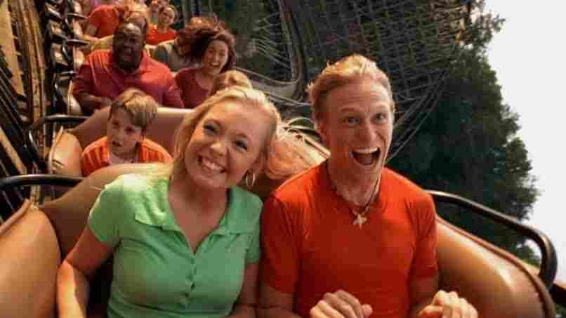 Visitors enjoy the Thunderhead roller coaster at Dollywood.