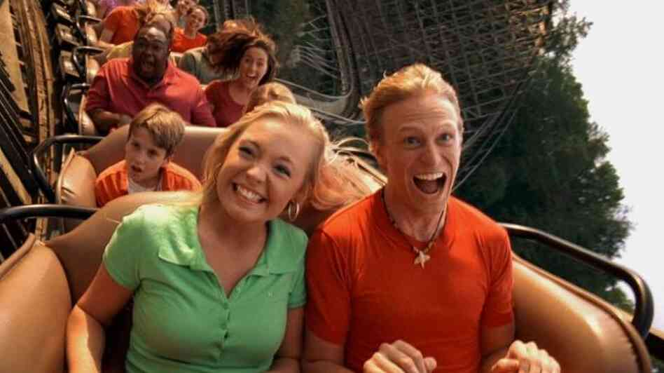 Visitors enjoy the Thunderhead roller coaster at Dollywood.