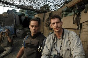 Tim Hetherington (right) co-directed the documentary Restrepo with Sebastian Junger. Hetherington was killed Wednesday covering the battle between rebel forces and the Gadhafi regime in Libya.