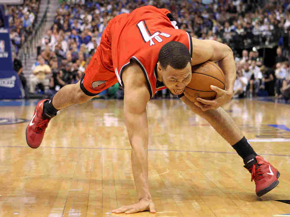 Guard Brandon Roy of the Portland Trail Blazers loses his balance in Game One of the Western Conference Quarterfinals on Saturday, April 16. On Tuesday, things got even tougher.