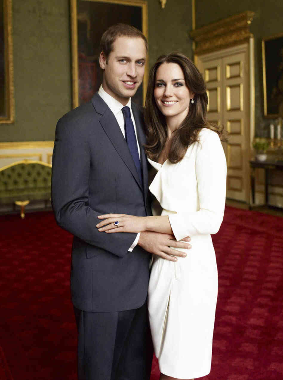 This is one of two official portrait photographs taken of Prince William and Kate Middleton in November 2010 to mark their engagement. Their wedding happens on April 29.