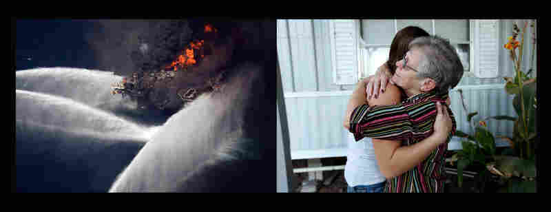 Left: The Deepwater Horizon oil rig burns on April 21, 2010. Most workers were evacuated, but 11 died. The rig sank the next day. Right: Pat Bordelon (right) consoles Micalet Kemp, whose brother, Roy Wyatt Kemp, 27, was among those killed.
