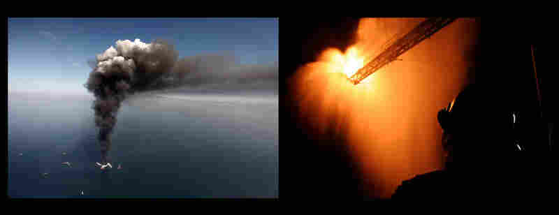 Left: Smoke rises above the Deepwater Horizon oil rig, April 21, 2010. Right: A worker watches as gas from the damaged wellhead is burned by the drill ship Discoverer Enterprise in a process