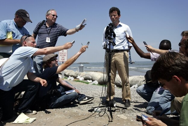 In May 2010, then-BP CEO Tony Hayward gave a news conference at Fourchon Beach in Port Fourchon, La.