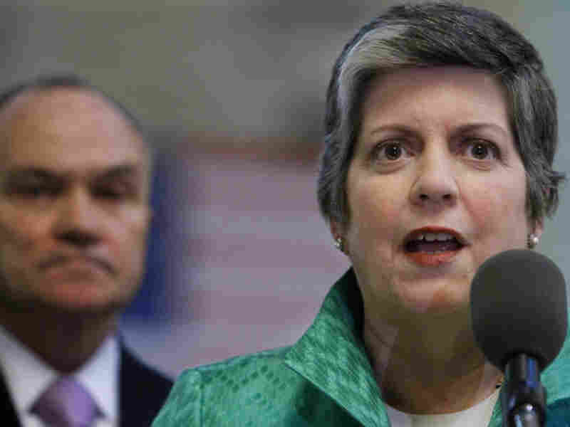 Commissioner Ray Kelly listens as Secretary of Homeland Security Janet Napolitano speaks during a news conference Wednesday in New York.   Napolitano announced the implementation of the Department of Homeland Security's new National Terrorism Advisory System.
