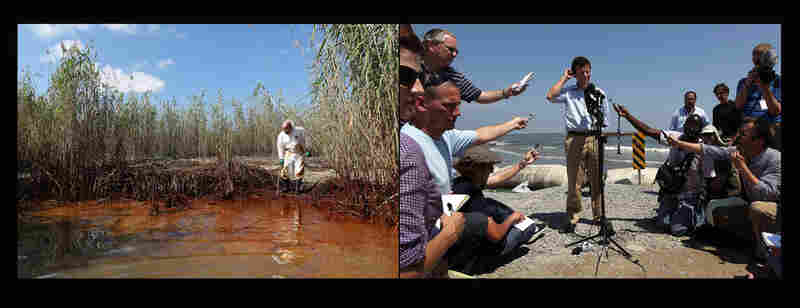 Left: Phil Radford, executive director of Greenpeace USA, inspects oil-covered reeds south of Venice, La., May 20, 2010. Right: Tony Hayward, then CEO of BP, answers questions from the media on an oil-stained beach in Port Fourchon, La., May 24, 2010.