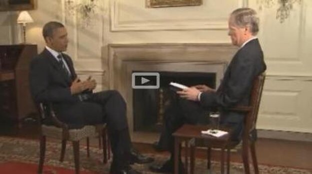 President Obama and WFAA-TV's Brad Watson.