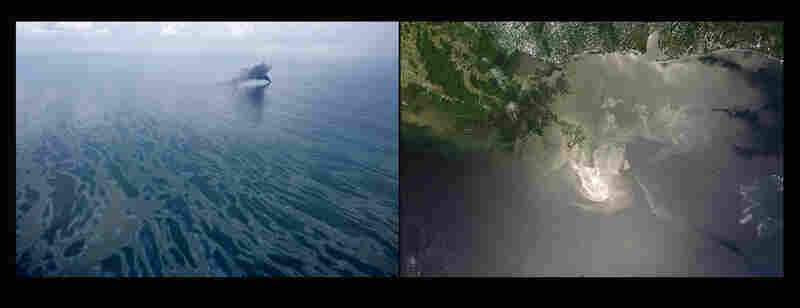 Left: Smoke rises from a controlled burn above the oil-slicked Gulf of Mexico. Right: A May 24, 2010, NASA satellite image shows the slick spreading near the Mississippi Delta.