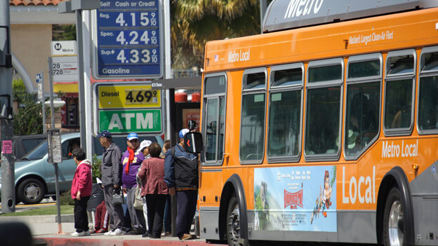 A gas station with fuel prices in the $4 range in Los Angeles on April 11. With the price of gas above $3.50 a gallon in all but one state, there are signs that Americans are cutting back on driving, reversing a steady increase in demand for fuel as the economy improves.