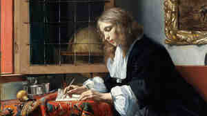 Metsu's 1664 painting A Man Writing a Letter depicts a h