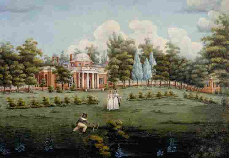 Monticello's West Lawn, depicted here with its characteristic flowerbeds and trees, inspired author Andrea Wulf to examine the link between America's founding fathers and gardening.
